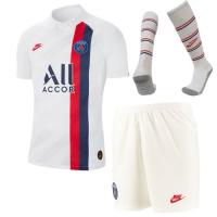 19/20 PSG Third Away White Soccer Jerseys Whole Kit(Shirt+Short+Socks)