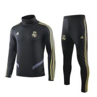 19/20 Real Madrid Black High Neck Collar Sweat Shirt Kit(Top+Trouser)