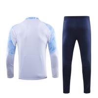19/20 Marseille White Zipper Sweat Shirt Kit(Top+Trouser)