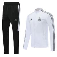20/21 Real Madrid White High Neck Collar Training Kit(Jacket+Trouser)