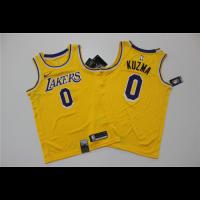 Men's Los Angeles Lakers Kyle Kuzma No.0 Yellow 18-19 Swingman Jersey - Icon Edition
