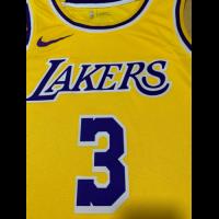 Men's Los Angeles Lakers Anthony Davis No.3 Yellow 18-19 Swingman Jersey - Icon Edition