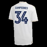 "19/20 Real Madrid Home White  ""Champion #34"" Soccer Jerseys Shirt"