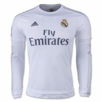 15/16 Real Madrid Home White Long Sleeve Retro Jerseys Shirt