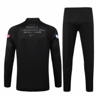 2020 South Korea Black Zipper Sweat Shirt Kit(Top+Trouser)