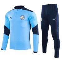 20/21 Manchester City Light Blue Zipper Sweat Shirt Kit(Top+Trouser)