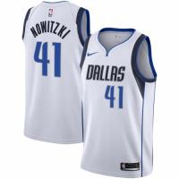 Men's Dallas Mavericks Dirk Nowitzki No.41 Nike White Replica Swingman Jersey - Association Edition