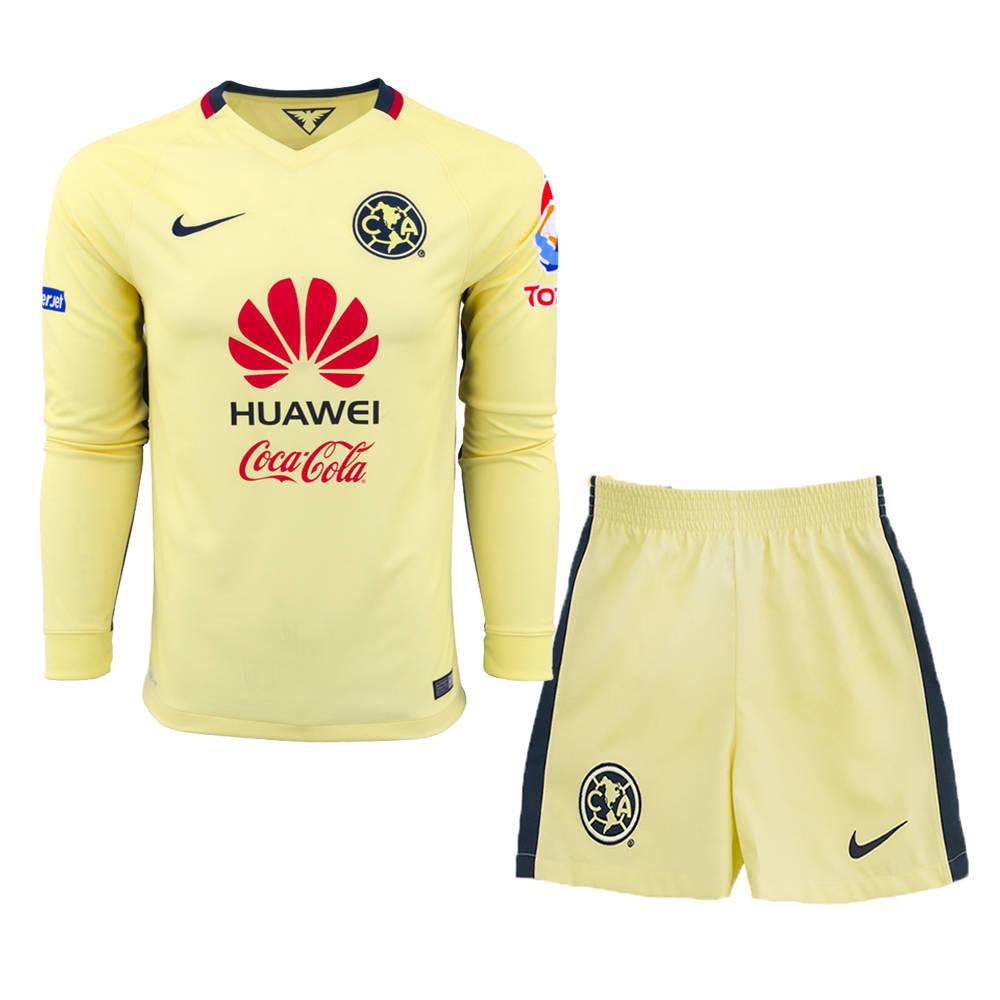 new style 3830d 8b8e5 15-16 Club America Home Long Sleeve Soccer Jersey Kit(Shirt+Short)