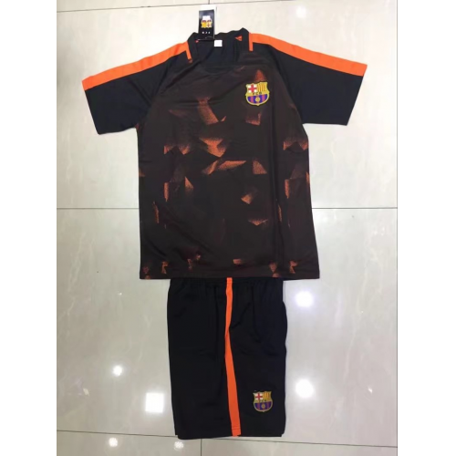 designer fashion 2b622 89061 17-18 Barcelona Black&Orange Pre-Match Training Kit(Without Logo)