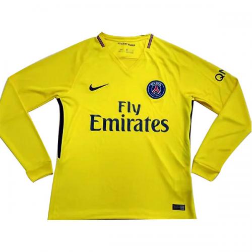 best website 25b45 40ef8 17-18 PSG Away Yellow Long Sleeve Soccer Jersey Shirt