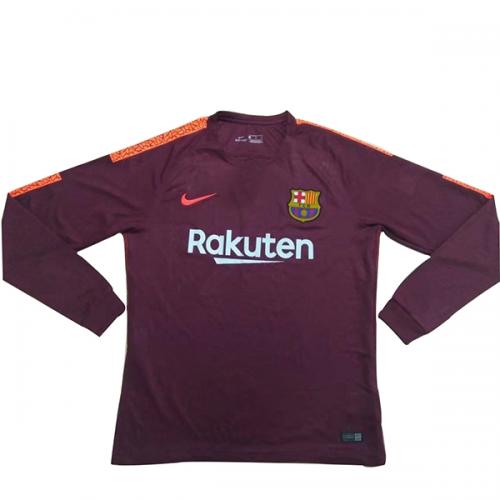 pretty nice 190d0 cbf35 17-18 Barcelona Third Away Red Long Sleeve Jersey Shirt