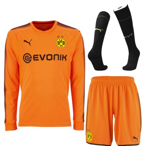e405d94dd 17-18 Borussia Dortmund Goalkeeper Orange Long Sleeve Jersey Kit ...