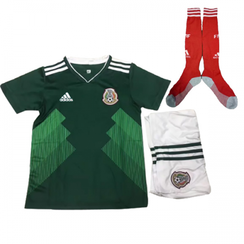 9d167c219 2018 World Cup Mexico Home Children s Jersey Whole Kit(Shirt+Short+Socks)
