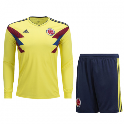 2018 World Cup Colombia Home Long Sleeve Jersey Kit(Shirt+Short ... 5222d3635