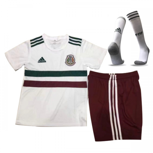 49bfee2b210d2 2018 World Cup Mexico Away White Children's Jersey Whole Kit(Shirt +Short+socks)