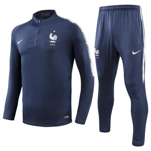 finest selection 558ca 3c4ee 2018 World Cup France Navy Training Kit(Sweat Top Shirt+Trouser)