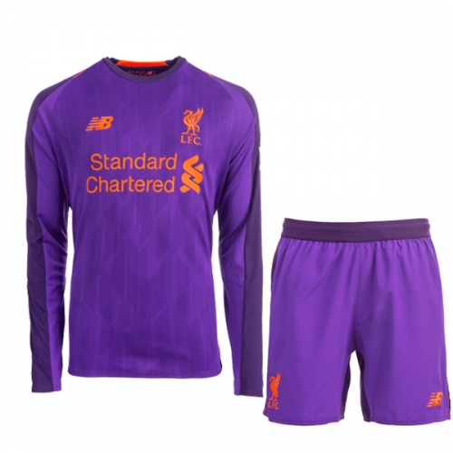 the best attitude 9fba5 b6748 18-19 Liverpool Away Purple Long Sleeve Long Sleeve Soccer Jersey  Kit(Shirt+Short)
