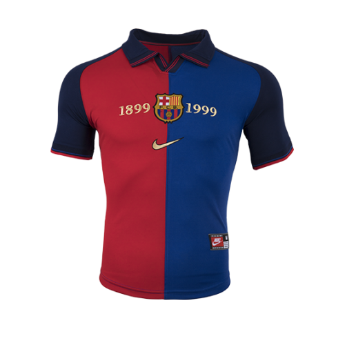 2ce99e1c966 ... 1999-2000 Barcelona Home Classic Retro 100-Yeas Anniversary Jersey Shirt