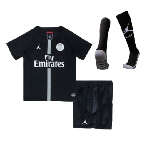 7e71be1e5de349 18-19 PSG JORDAN 3rd Away Black Children s Jersey Kit(Shirt+Short+ ...