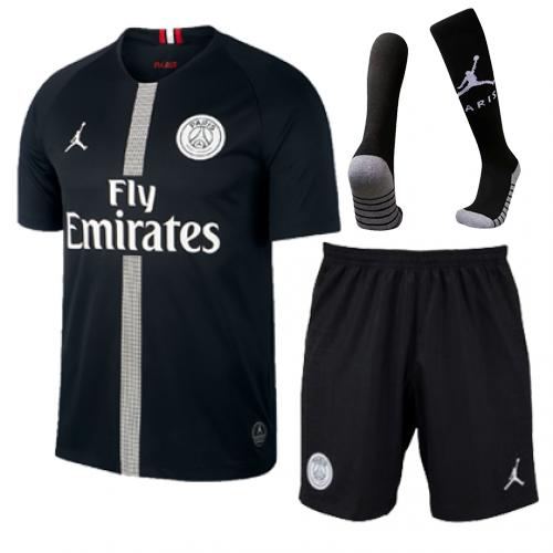 uk availability f353c 217a6 18-19 PSG JORDAN 3rd Away Black Soccer Whole Jersey Kit(Shirt+Short+Socks)