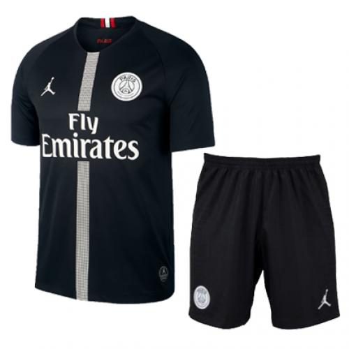 separation shoes 31a4b 15722 18-19 PSG JORDAN 3rd Away Black Soccer Jersey Kit(Shirt+Short)