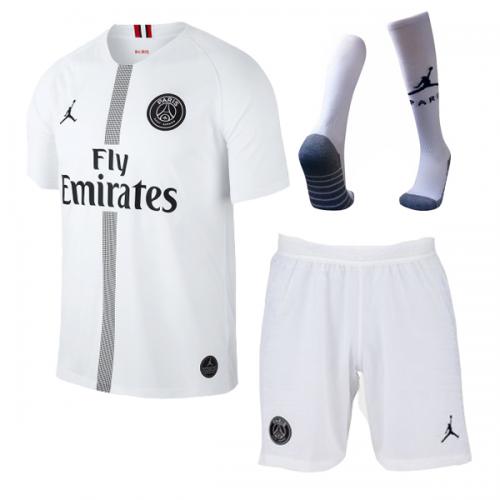 7e228793b ... 18-19 PSG JORDAN 3rd Away Player Version White Soccer Jersey Whole Kit( Shirt