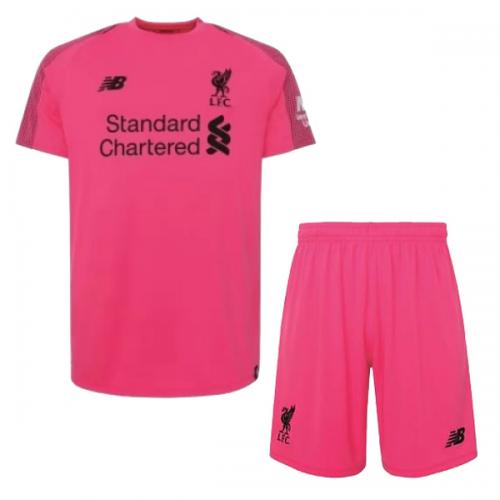 online retailer ec03f e7462 18-19 Liverpool Goalkeeper Pink Soccer Jersey Kit(Shirt+Short)