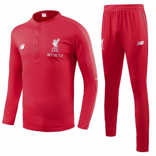 newest ed337 2d842 18-19 Liverpool Red Training Kit( Zipper Sweat Top Shirt+Trouser)