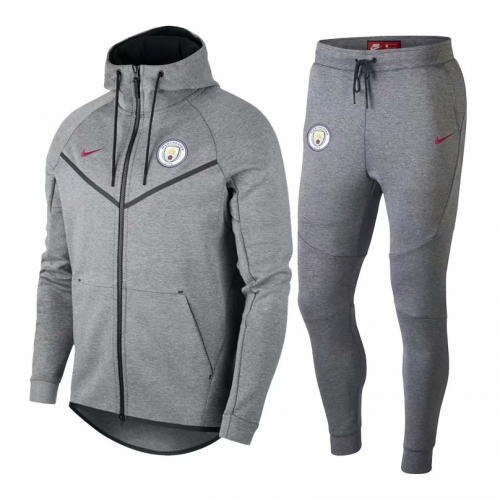 promo code 683ff a5c5f 18-19 Manchester City Gray Hoody Training Kit(Jacket+Trouser)