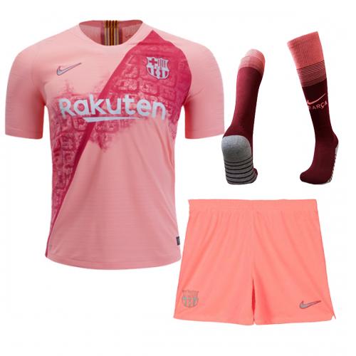 43d78cf9f61 18-19 Barcelona Third Away Pink Soccer Jersey Kit(Shirt+Short+Socks ...