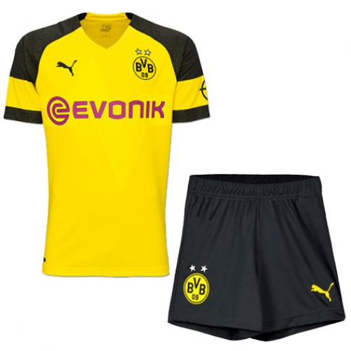 brand new c9f1f 2163a 18-19 Borussia Dortmund Home Soccer Jersey Kit(Shirt+Short)