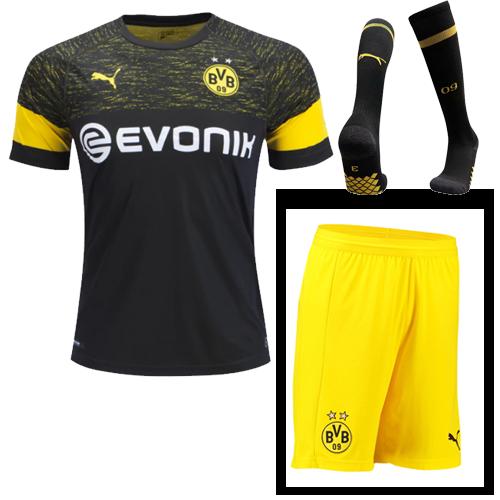 outlet store 5b8f3 73a8f 18-19 Borussia Dortmund Away Black Soccer Jersey Whole  Kit(Shirt+Short+Socks)