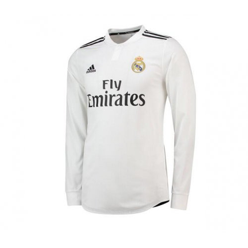 watch a6ab3 6d870 18-19 Real Madrid Home White Long Sleeve Jersey Shirt