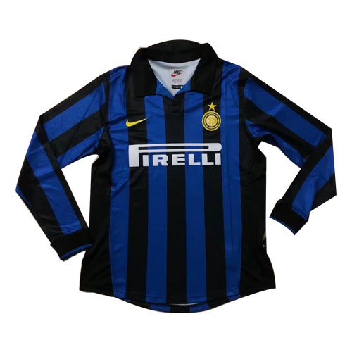new products a2e75 fc546 98-99 Inter Milan Home Blue&Black Long Sleeve Retro Jerseys Shirt