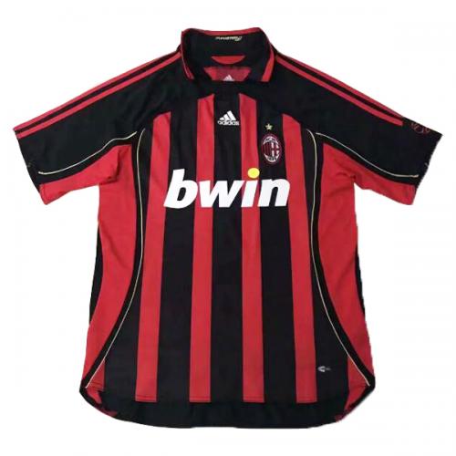 best sneakers d7882 5a3a7 06-07 AC Milan Retro Home Red&Black Soccer Jersey Shirt