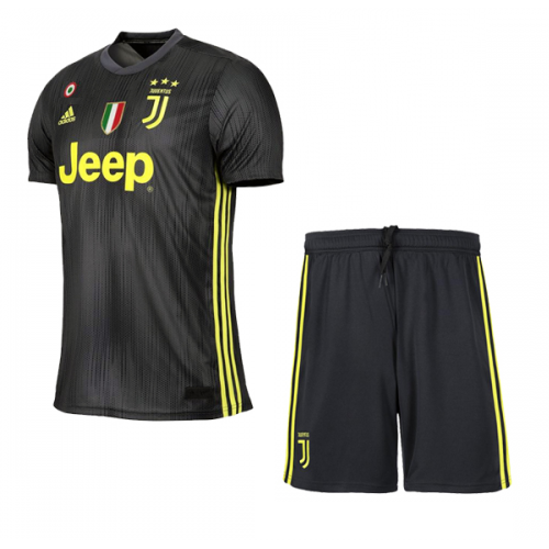 b14f40bfc4e ... 18-19 Juventus Third Away Black Soccer Jersey Kit(Shirt+Short)