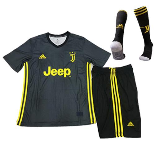 separation shoes a99e7 e3e6d 18-19 Juventus Third Away Black Children's Jersey Whole  Kit(Shirt+Short+Socks)