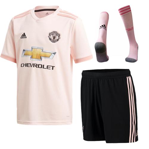 be4658ac4fc 18-19 Manchester United Away Pink Jersey Whole Kit(Shirt+Short+Socks ...