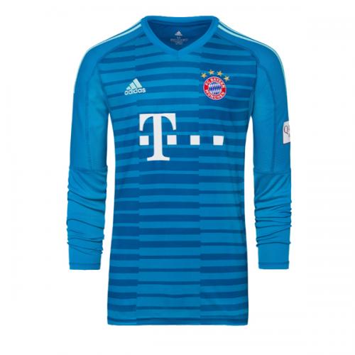 bdb7a2ce80d 18-19 Bayern Munich Blue Long Sleeve Goalkeeper Jersey Shirt - Cheap ...