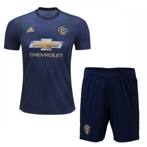 huge selection of ab38b 5b4f6 18-19 Manchester United Third Away Navy Jersey Kit(Shirt+Short)