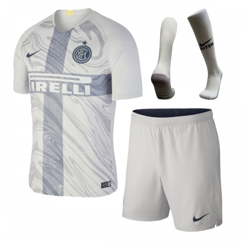 wholesale dealer ff6c2 09ea3 18-19 Inter Milan Third Away Gray Soccer Jersey Whole Kit(Shirt+Short+Socks)