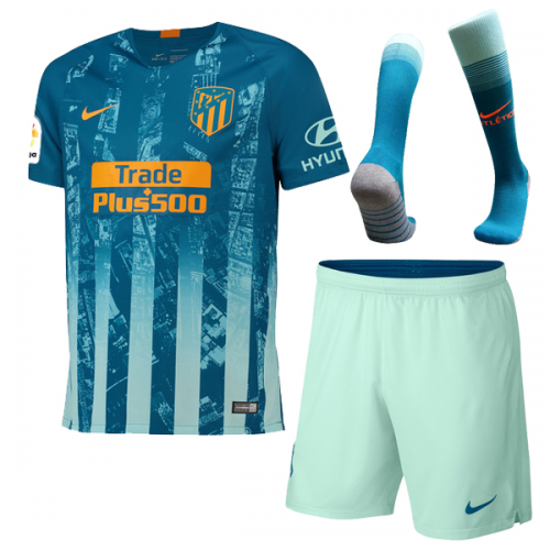 low priced 9b2b5 01330 18-19 Atletico Madrid Third Away Green Soccer Jersey Whole  Kit(Shirt+Short+Socks)