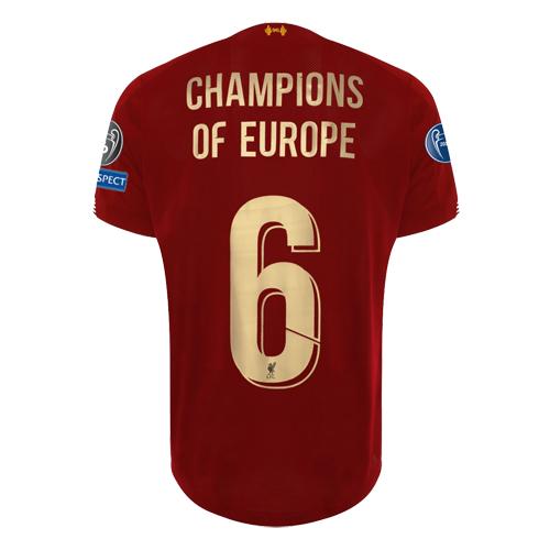 wholesale dealer 606d1 c3de2 19/20 Liverpool Home Red Champions of Europe #6 Jerseys Shirt