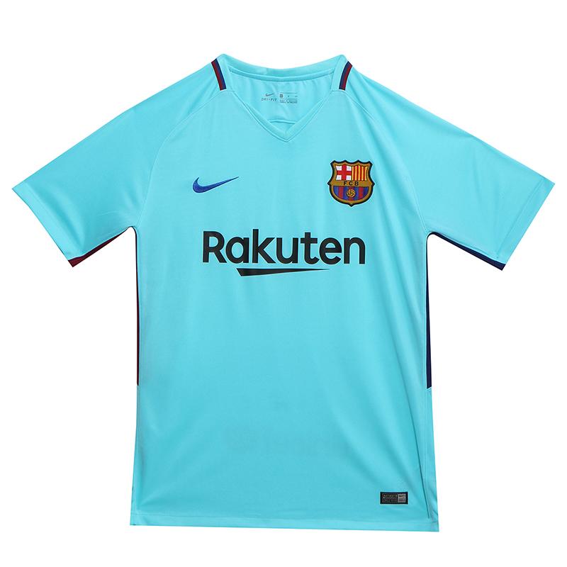 uk availability 0c119 92cb4 17-18 Barcelona Away Blue Soccer Jersey Shirt