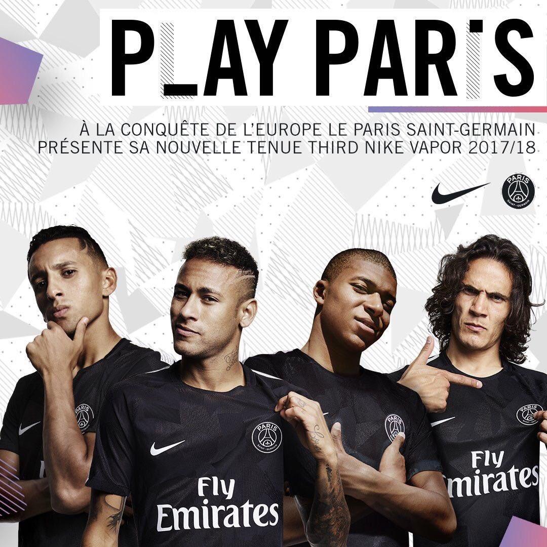 cheap for discount 9b00f 56955 17-18 PSG Third Away Black Soccer Jersey Shirt