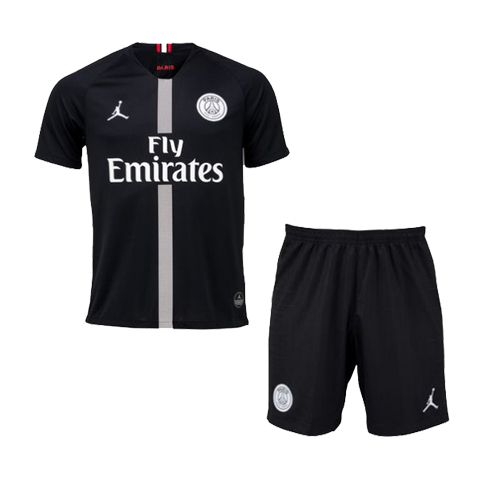 18 19 PSG JORDAN 3rd Away Black Soccer Jersey Kit Shirt Short 53c1d4d34