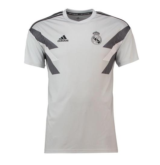 best service e87ba d3d60 18-19 Real Madrid Light Gray Training Jersey Shirt