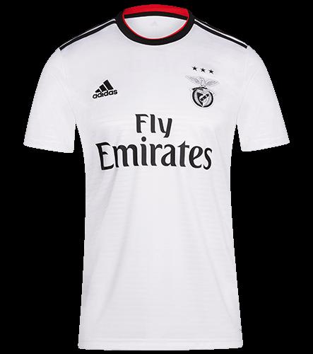 sports shoes 08675 e4fe8 18-19 Benfica Away White Soccer Jersey Shirt